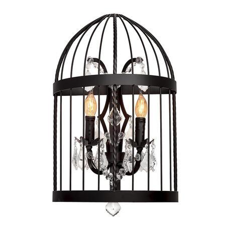 Бра Loft It Vintage Birdcage LOFT1891W, 2xE14x40W, черный, прозрачный, металл, ковка, хрусталь