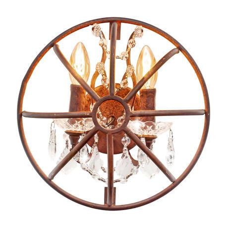 Бра Loft It Foucaults Orb Crystal LOFT1897W, 3xE14x40W, коричневый, прозрачный, металл, ковка, хрусталь