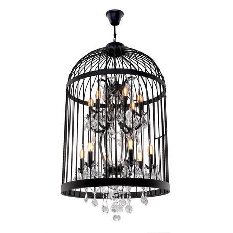 Подвесная люстра Loft It Vintage Birdcage LOFT1891/12, 12xE14x40W, черный, прозрачный, металл, ковка, хрусталь