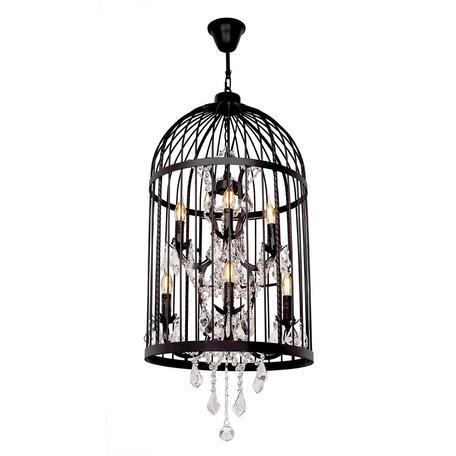 Подвесная люстра Loft It Vintage Birdcage LOFT1891/8, 8xE14x40W, черный, прозрачный, металл, ковка, хрусталь