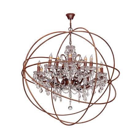 Подвесная люстра Loft It Foucaults Orb Crystal LOFT1897/15, 15xE14x40W, коричневый, прозрачный, металл с хрусталем, ковка, металл, хрусталь