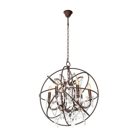 Подвесная люстра Loft It Foucaults Orb Crystal LOFT1897/6, 6xE14x40W, коричневый, прозрачный, металл с хрусталем, ковка, металл, хрусталь