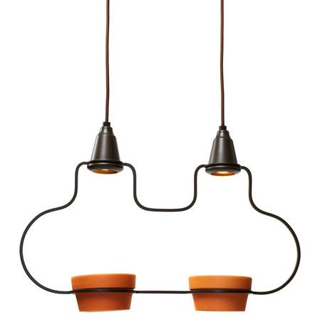 Подвесной светильник Loft It Ceramic 6969/2А, 2xG5.3x5W, коричневый, металл, керамика