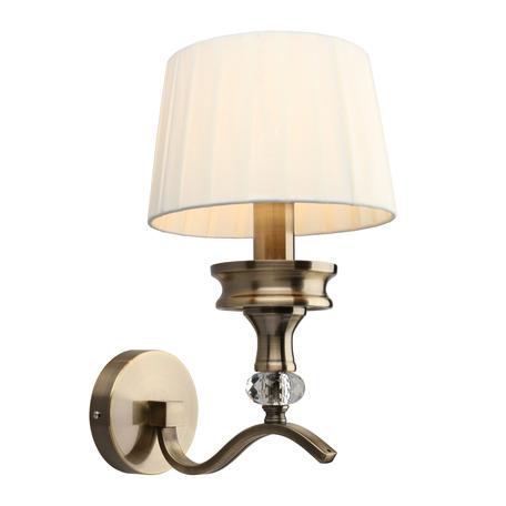 Светильник Omnilux Arosio OML-88411-01, 1xE14x40W, бронза с прозрачным, бежевый, металл с хрусталем, текстиль