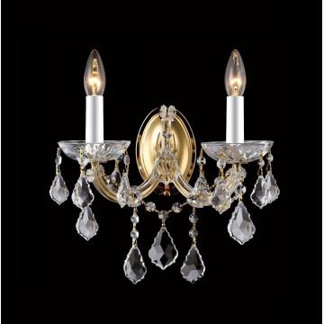 Бра Crystal Lux TESORO AP2 3190/402, 2xE14x40W, золото, прозрачный, металл, стекло, хрусталь