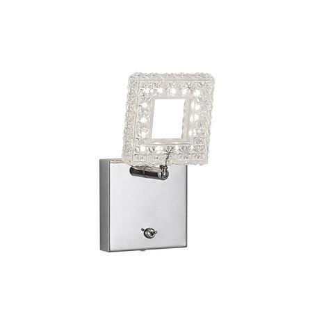 Настенный светодиодный светильник с регулировкой направления света Citilux Квадрат CL559611, LED 6W 3000K 480lm, хром, прозрачный, металл, пластик