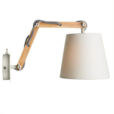 Бра с регулировкой направления света Arte Lamp Pinocchio A5700AP-1WH, 1xE14x40W, белый, коричневый, дерево, текстиль