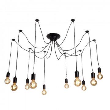 Люстра-паук Arte Lamp Fuori A9184SP-10BK, 10xE27x60W, черный, металл