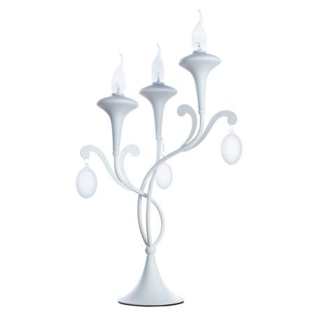 Настольная лампа Arte Lamp Montmartre A3239LT-3WH, 3xE14x40W, белый, металл, стекло