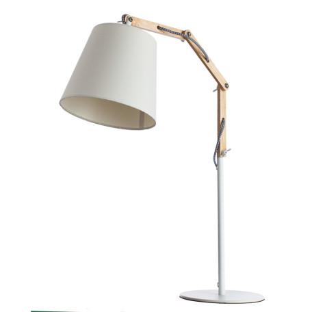 Настольная лампа Arte Lamp Pinocchio A5700LT-1WH, 1xE27x60W, белый, коричневый, металл, дерево, текстиль