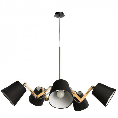 Подвесная люстра с регулировкой направления света Arte Lamp Pinocchio A5700LM-5BK, 5xE14x40W, черный, коричневый, металл, дерево, текстиль