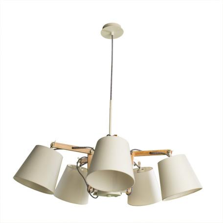 Подвесная люстра с регулировкой направления света Arte Lamp Pinocchio A5700LM-5WH, 5xE14x40W, белый, коричневый, металл, дерево, текстиль
