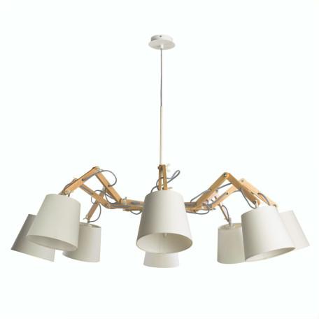 Подвесная люстра с регулировкой направления света Arte Lamp Pinocchio A5700LM-8WH, 8xE14x40W, белый, коричневый, металл, дерево, текстиль
