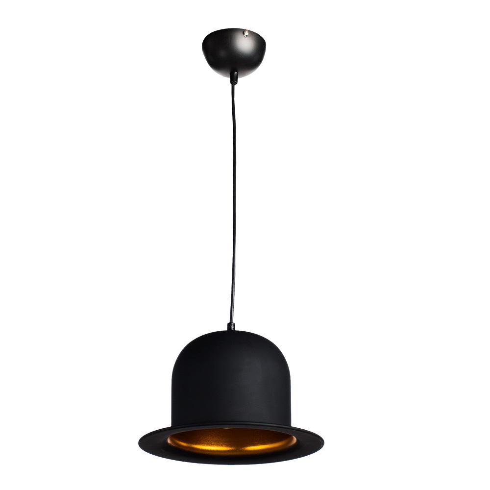 Подвесной светильник Arte Lamp Cappello A3234SP-1BK, 1xE27x40W, черный, золото, металл - фото 1