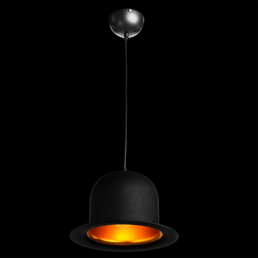 Подвесной светильник Arte Lamp Cappello A3234SP-1BK, 1xE27x40W, черный, золото, металл - фото 2