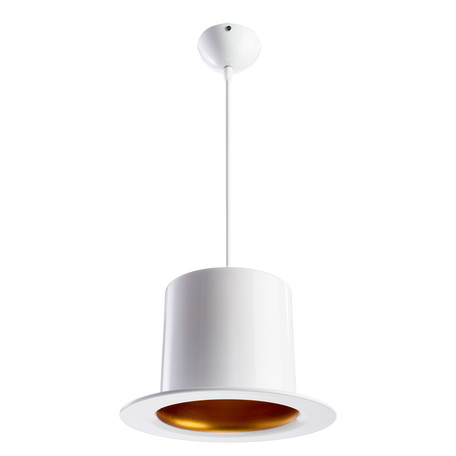 Подвесной светильник Arte Lamp Cappello A3236SP-1WH, 1xE27x40W, белый, золото, металл
