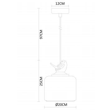 Схема с размерами Arte Lamp A8029SP-1WH