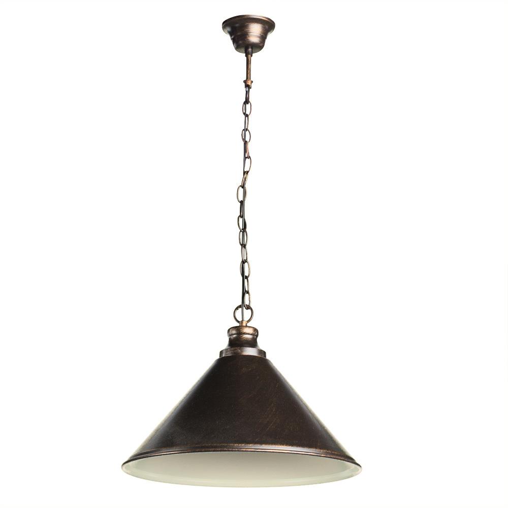 Подвесной светильник Arte Lamp Bevel A9330SP-1BR, 1xE27x75W, коричневый с золотой патиной, металл - фото 1