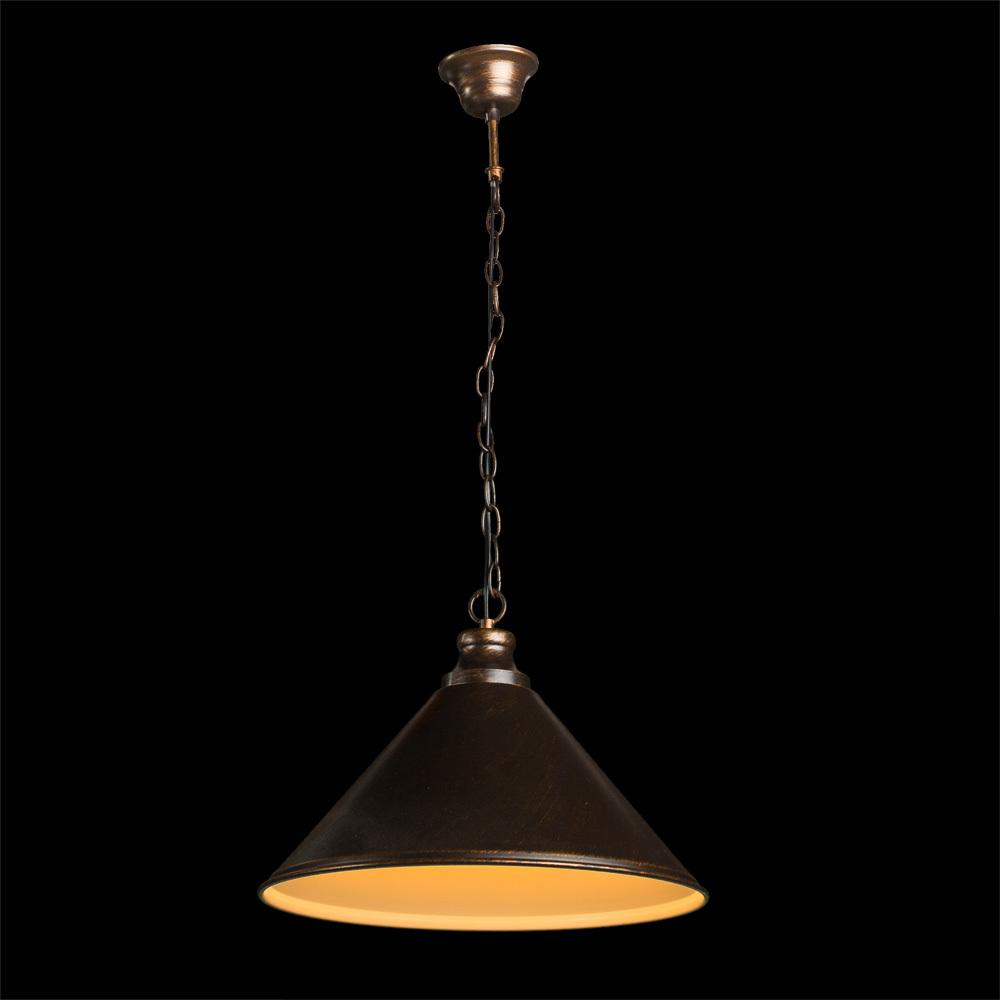 Подвесной светильник Arte Lamp Bevel A9330SP-1BR, 1xE27x75W, коричневый с золотой патиной, металл - фото 2