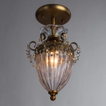 Потолочный светильник Arte Lamp Schelenberg A4410PL-1SR, 1xE14x40W, латунь, прозрачный, металл, стекло, хрусталь