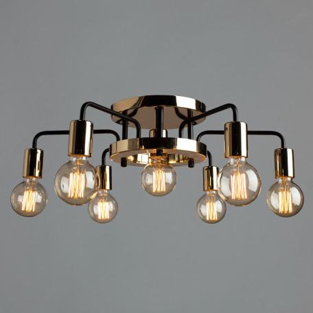 Потолочная люстра Arte Lamp Gelo A6001PL-7BK, 7xE27x40W, золото, металл - миниатюра 2