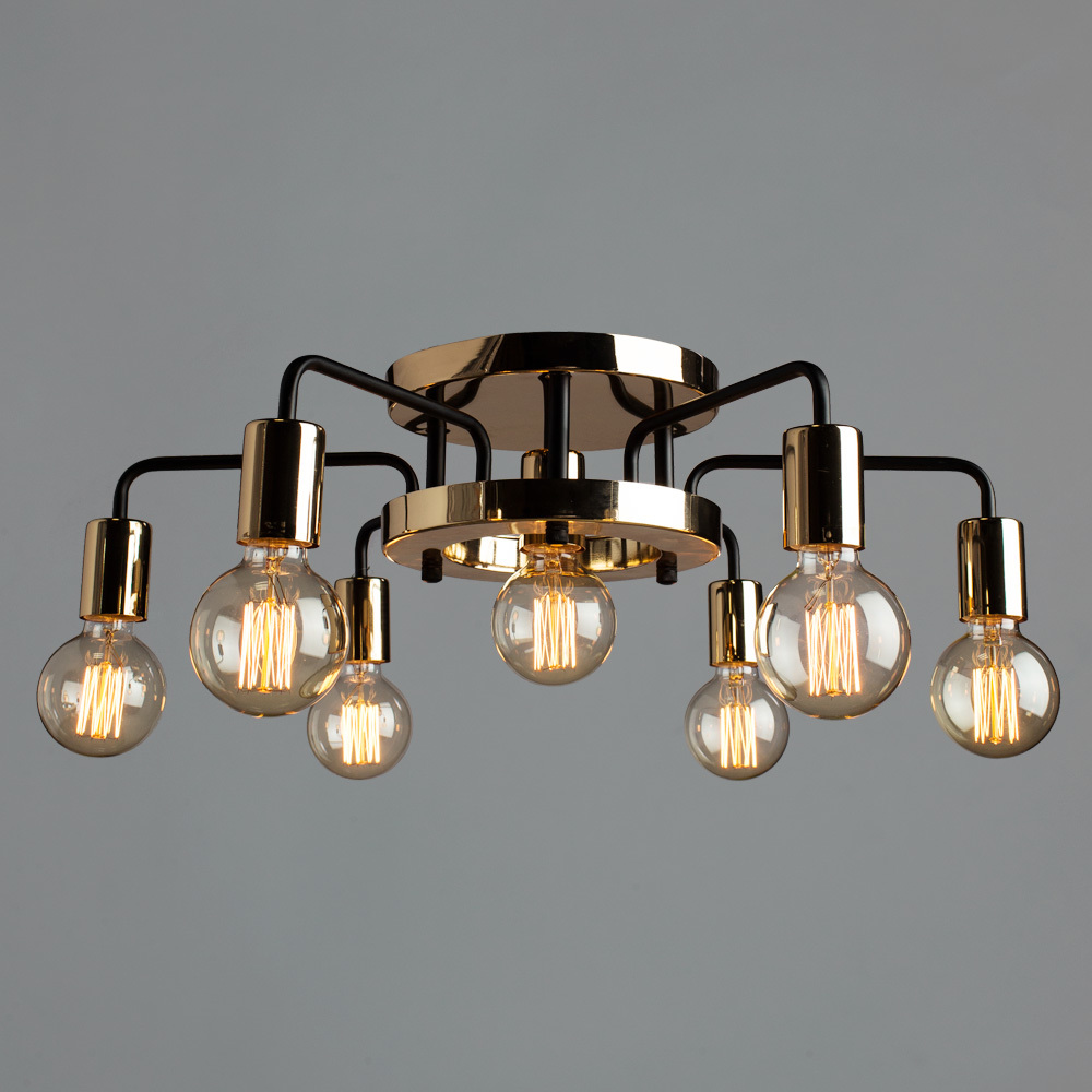 Потолочная люстра Arte Lamp Gelo A6001PL-7BK, 7xE27x40W, золото, металл - фото 2