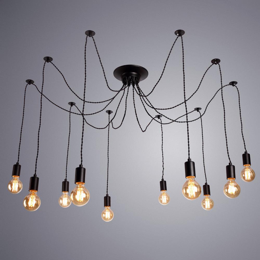 Люстра-паук Arte Lamp Fuori A9184SP-10BK, 10xE27x60W, черный, металл - фото 1