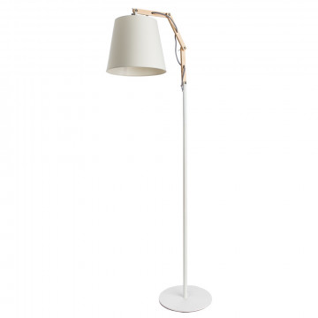 Торшер Arte Lamp Pinocchio A5700PN-1WH, 1xE27x60W, белый, коричневый, металл, дерево, текстиль