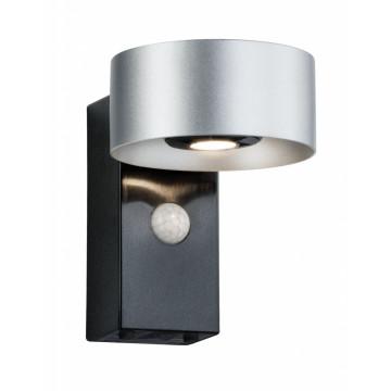 Настенный светодиодный светильник Paulmann Cone 79678, IP44, LED 8W, черный, серебро, металл