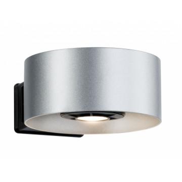 Настенный светодиодный светильник Paulmann Cone 79680, IP44, LED 8W, черный, серебро, металл
