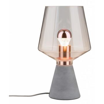 Настольная лампа Paulmann Yorik 79665, 1xE27x20W, бетон, стекло