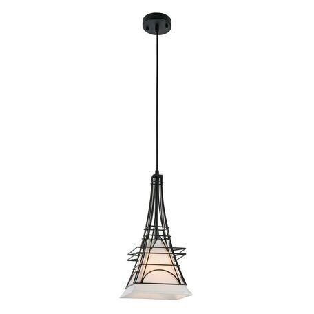 Подвесной светильник Maytoni City T187-PL-01-B, 1xE27x40W, черный, белый, металл, текстиль