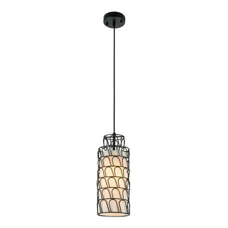 Подвесной светильник Maytoni City T193-PL-01-B, 1xE27x40W, черный, белый, металл, текстиль