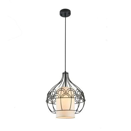 Подвесной светильник Maytoni City T194-PL-01-B, 1xE27x40W, черный, белый, металл, текстиль - миниатюра 1
