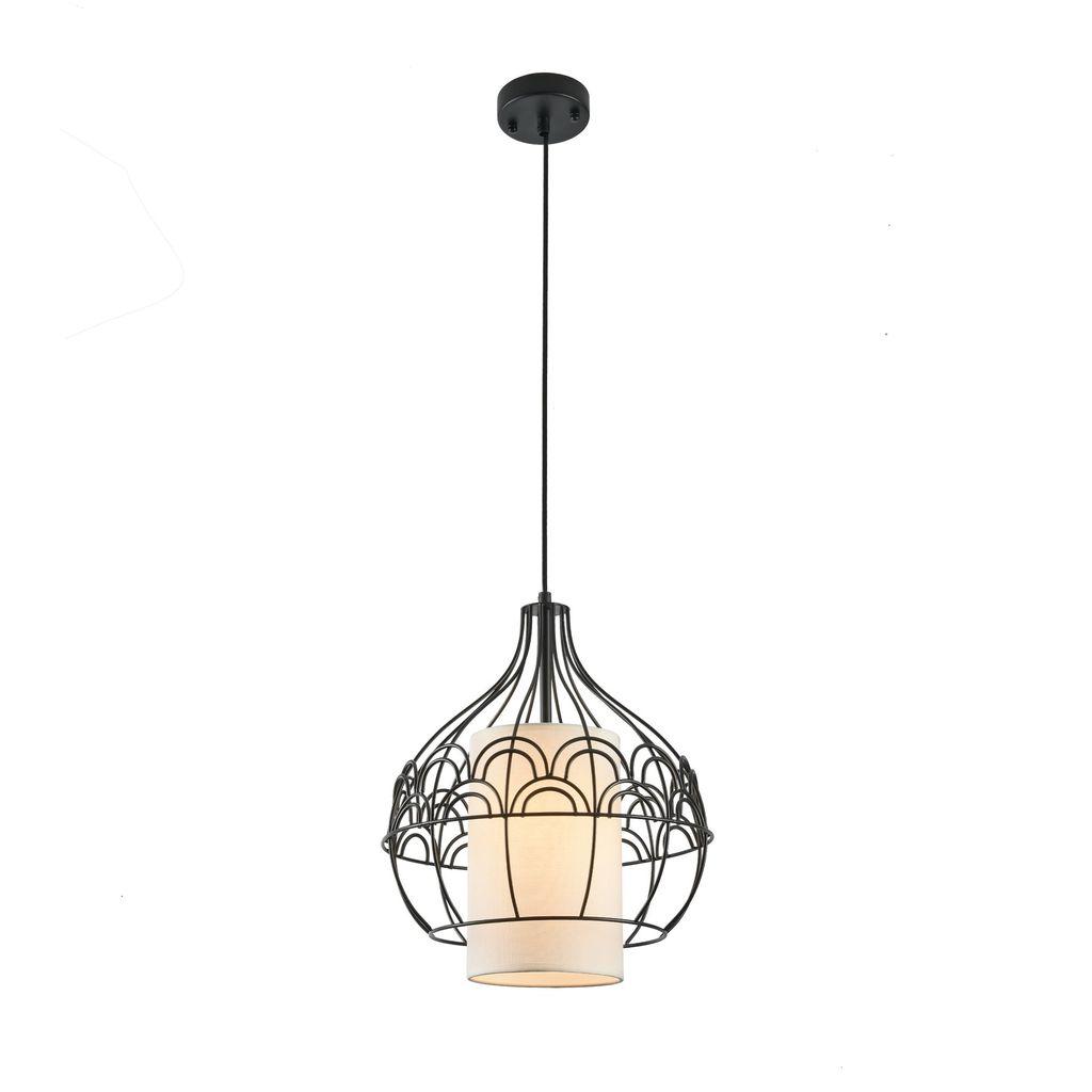 Подвесной светильник Maytoni City T194-PL-01-B, 1xE27x40W, черный, белый, металл, текстиль - фото 1
