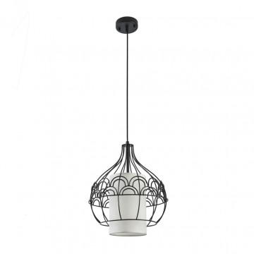 Подвесной светильник Maytoni City T194-PL-01-B, 1xE27x40W, черный, белый, металл, текстиль - миниатюра 2