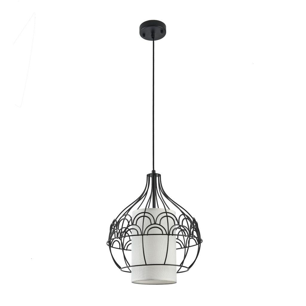 Подвесной светильник Maytoni City T194-PL-01-B, 1xE27x40W, черный, белый, металл, текстиль - фото 2