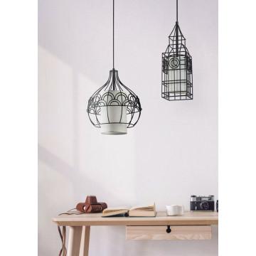 Подвесной светильник Maytoni City T194-PL-01-B, 1xE27x40W, черный, белый, металл, текстиль - миниатюра 5