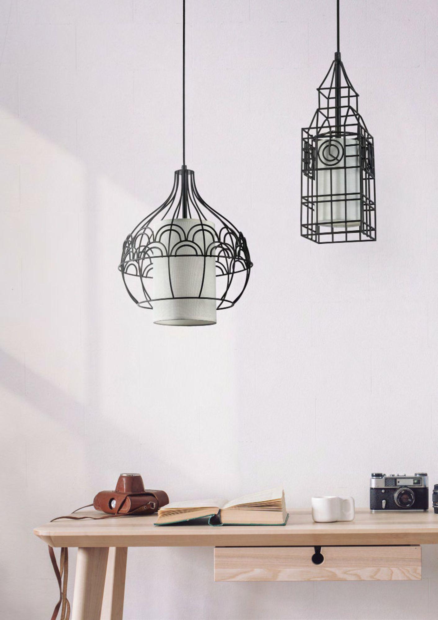 Подвесной светильник Maytoni City T194-PL-01-B, 1xE27x40W, черный, белый, металл, текстиль - фото 5