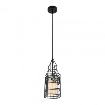Подвесной светильник Maytoni City T195-PL-01-B, 1xE27x40W, черный, белый, металл, текстиль