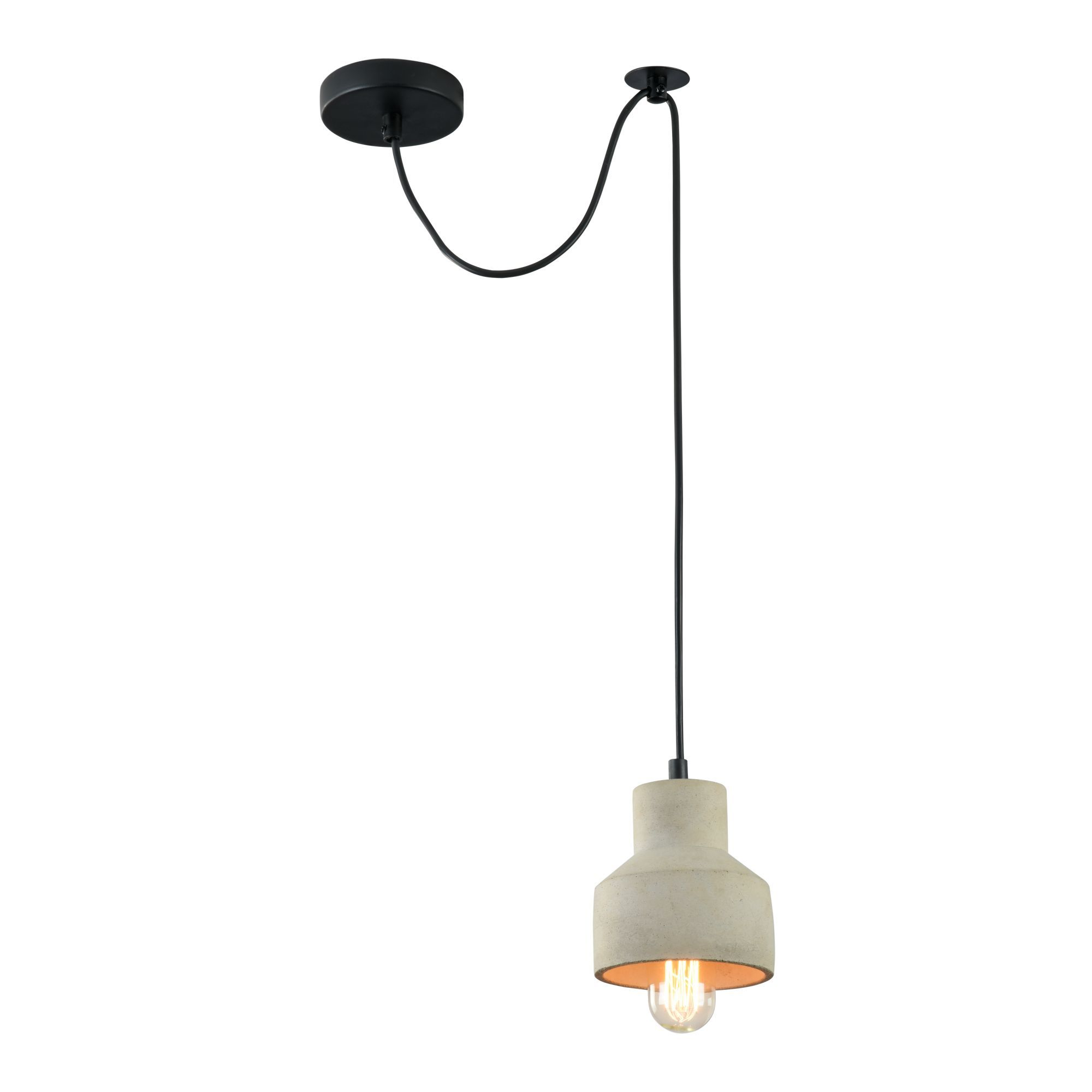 Подвесной светильник Maytoni Broni T437-PL-01-GR, 1xE27x60W, черный, серый, металл, бетон - фото 1