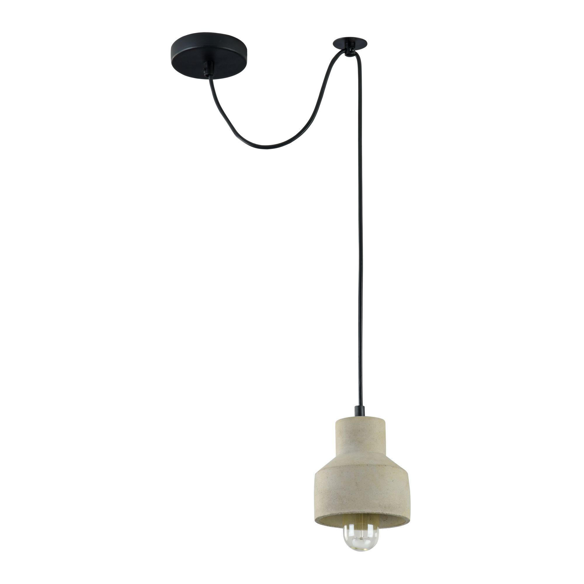 Подвесной светильник Maytoni Broni T437-PL-01-GR, 1xE27x60W, черный, серый, металл, бетон - фото 2