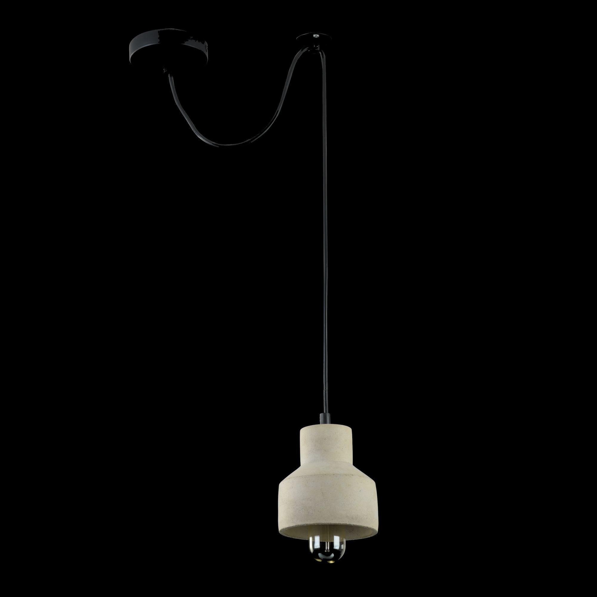 Подвесной светильник Maytoni Broni T437-PL-01-GR, 1xE27x60W, черный, серый, металл, бетон - фото 3