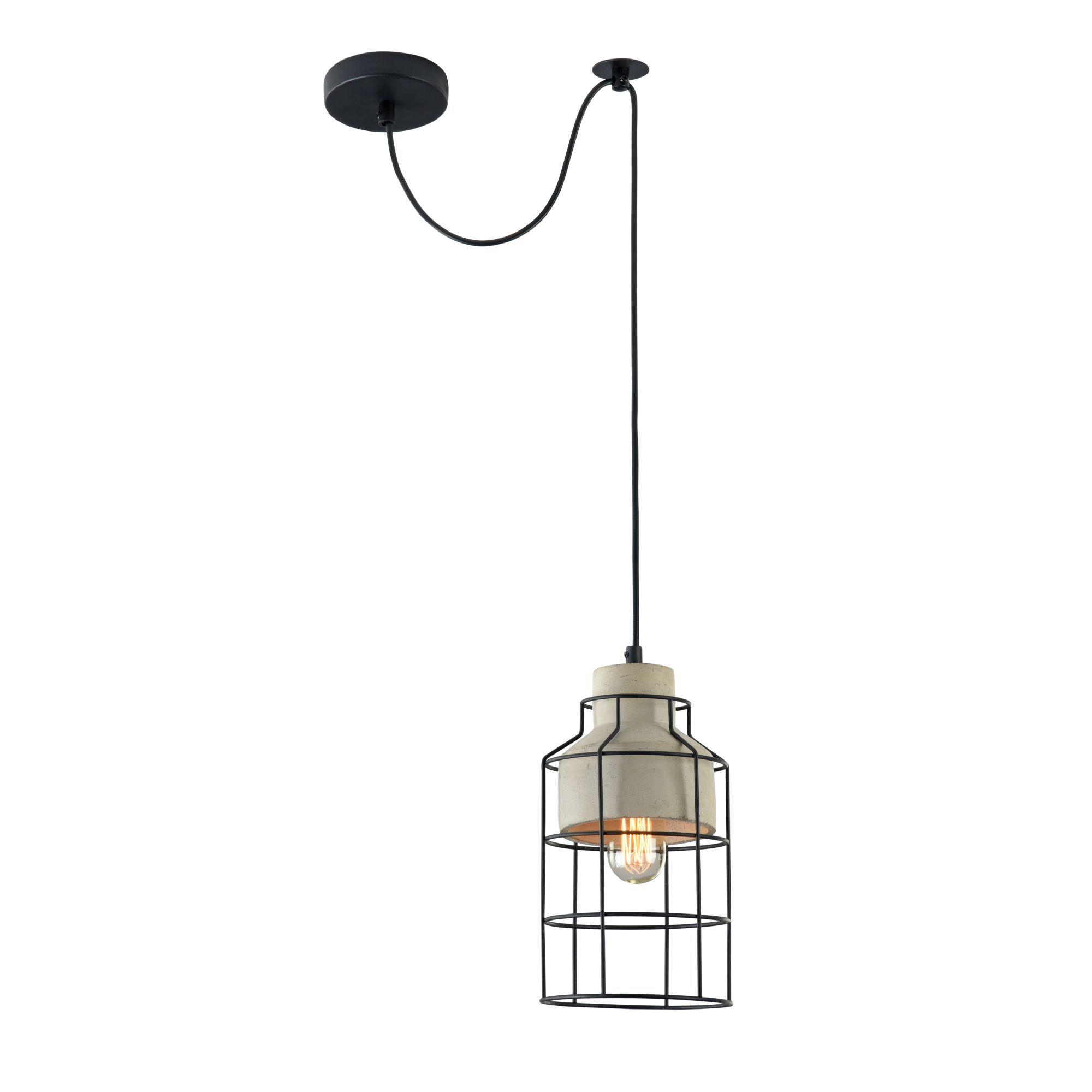 Подвесной светильник Maytoni Gosford T441-PL-01-GR, 1xE27x60W, черный, серый, металл, бетон - фото 1
