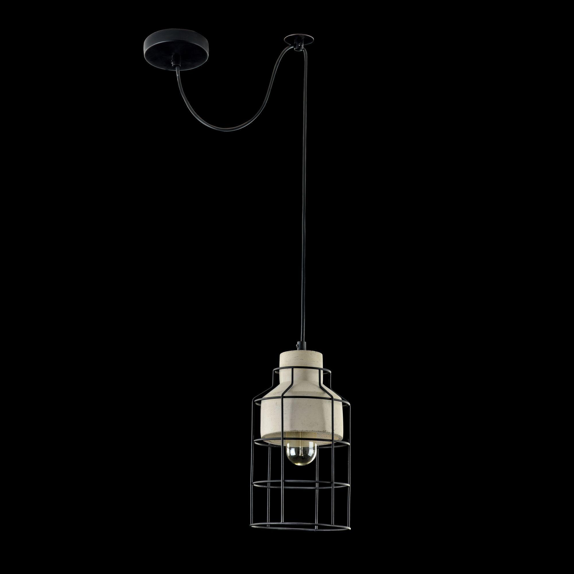Подвесной светильник Maytoni Gosford T441-PL-01-GR, 1xE27x60W, черный, серый, металл, бетон - фото 2