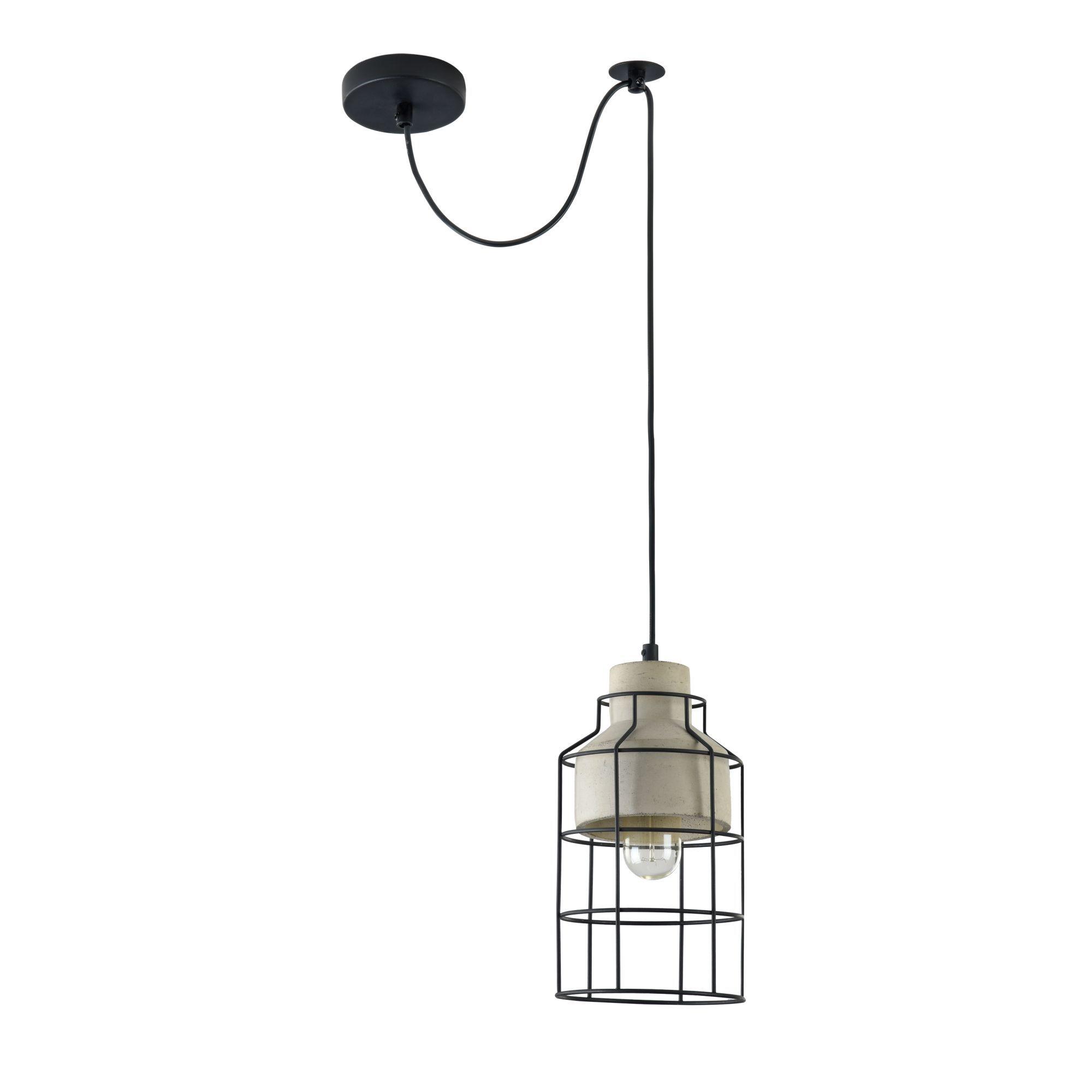 Подвесной светильник Maytoni Gosford T441-PL-01-GR, 1xE27x60W, черный, серый, металл, бетон - фото 3