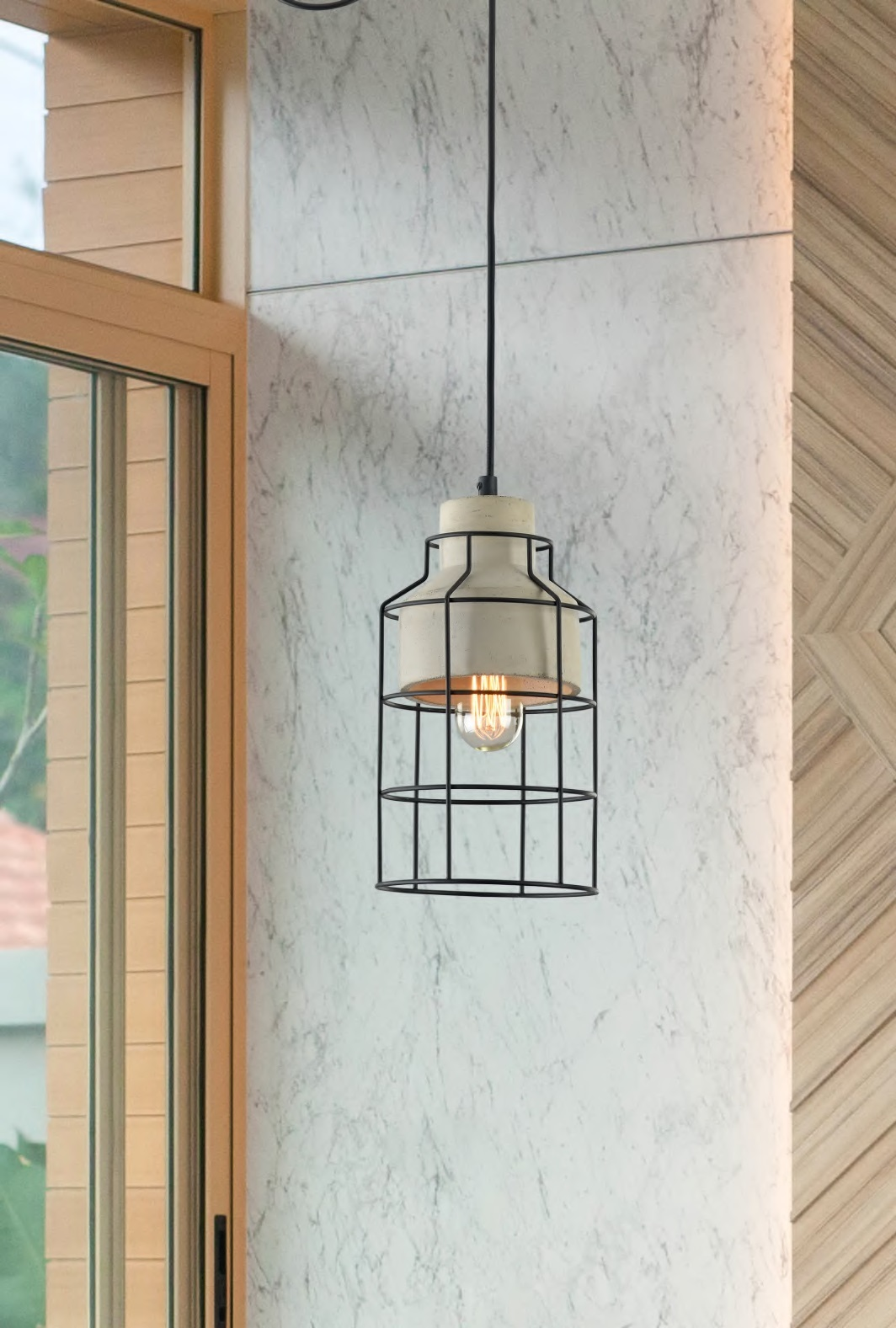 Подвесной светильник Maytoni Gosford T441-PL-01-GR, 1xE27x60W, черный, серый, металл, бетон - фото 5