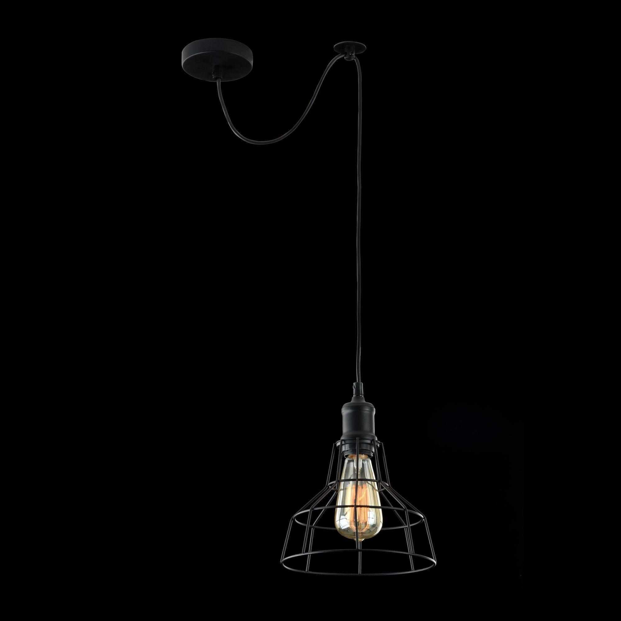 Подвесной светильник Maytoni Loft Denver T448-PL-01-B, 1xE27x60W, черный, металл - фото 4