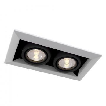 Встраиваемый светильник Maytoni Metal Modern DL008-2-02-W, 2xGU10x50W, белый, черно-белый, черный, металл