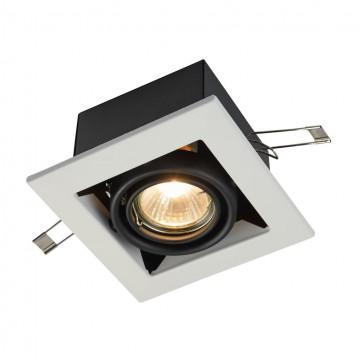 Встраиваемый светильник Maytoni Metal Modern DL008-2-01-W, 1xGU10x50W, белый, черный, металл